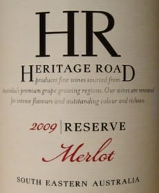 Heritage Road Merlot Reserve 09_close up